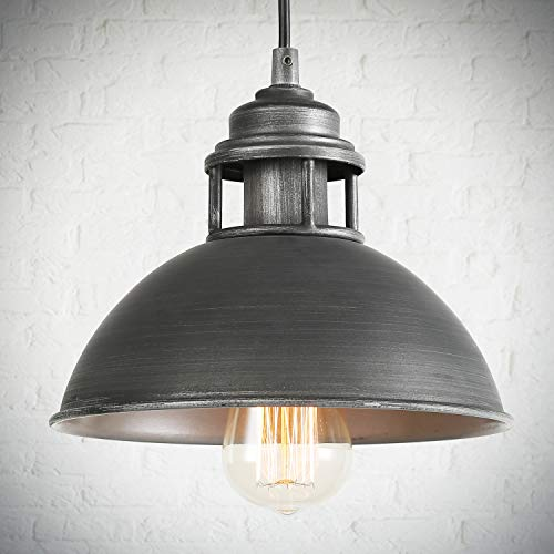 LOG BARN Black Silver Brushed Pendant Lighting Industrial Hanging Fixture with Cutouts on Top for Kitchen Island, Bedroom, Dining Room, Hallway and Foyer