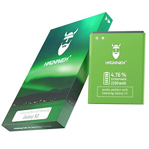 Hagnaven® Batteria agli ioni di litio per Samsung Galaxy S3 GT-i9300 | Batteria sostitutiva | PIÙ POTENTE | 2200 mAh | CELLE DI ALTA QUALITÀ | MIGLIORE DURATA | Remplacé EB-L1G6LLU