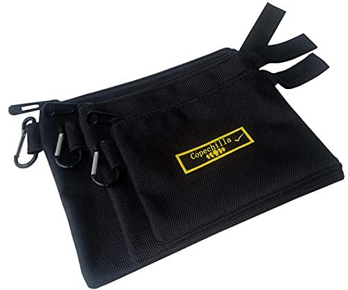 Copechilla borsa porta attrezzi portatile nero 3PCS,21X17CM,17X15CM,14X12CM,Materiale 1680D alta densità impermeabile resistente all'usura,con cinturino sospeso e moschettonem,per chiave,chiodi,vite