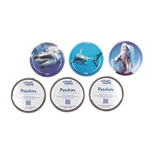 SCHOOL-MOOD Patchy-Set - 6-teilig - Klett-Patchies für Schulranzen und Zubehör (Hai)