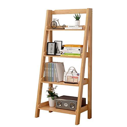 QiHaoHeji boekenkast van hout, 4 boekenplanken, ladder voor het opbergen in rekken in de woonkamer, kantoor, multifunctioneel, bibliotheek en rek