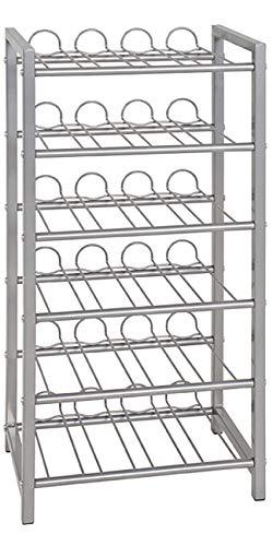 Haku Möbel Flaschenständer - Stahlrohr alufarben lackiert - für ca 24 Flaschen H 72 cm