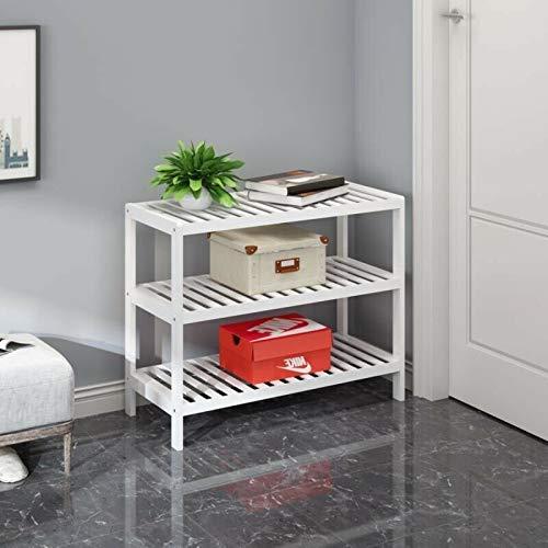 Vencier 3 Tier White Bamboo Shoe Rack Stand Shelf Shelving Hallway,Bedroom,Bathroom,Living Room Organizer Holder Storage for 12 pairs shoes
