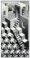 ポスター MC エッシャー 循環 額装品 アルミ製ハイグレードフレーム(ホワイト)