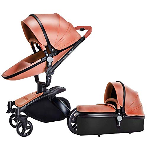 Fantastic Deal! Luxury Baby Stroller 3 in 1 with Separate carrycot Gold Frame 360 Degrees Rotation H...