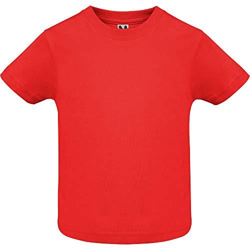 Camiseta de Colores con Manga Corta para Bebés - Prenda de algodón 100%, cómoda, Suave, cálida y Tacto Agradable (Rojo, 24 Meses)