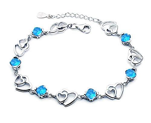 findout Amatista azul rosado rojo blanco cristalino del corazón de la pulsera de plata, para las mujeres niñas. (F497)