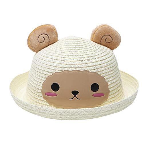 XLGX-Chapeau Oreilles Mouton Casquette de Baseball Plage Camping Pêche Golf Bonnets BéBé Fille Chapeaux Paille été (Blanc)