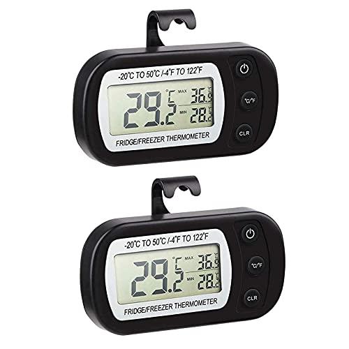 ZHITING 2Pcs Nevera Termómetro máximo/mínimo digital para refrigerador Termómetro Impermeable para frigoríficos Refrigerador Congelador Pantalla LCD -20℃~50℃ (black)