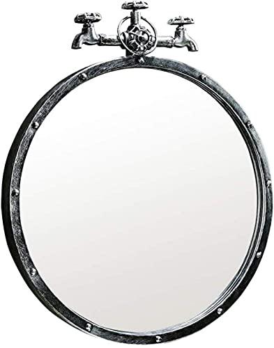 GLXLSBZ Espejo de Pared Baño Espejos de Metal de Pared Espejo Mural Decorado para Sala de Estar Diseño de Grifo Retro 1,1, Plata