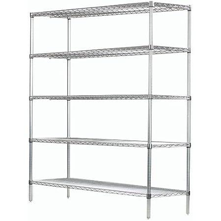 Amazon Com 24 Deep X 48 Wide X 74 High 5 Tier Chrome Starter Shelving Unit Furniture Decor
