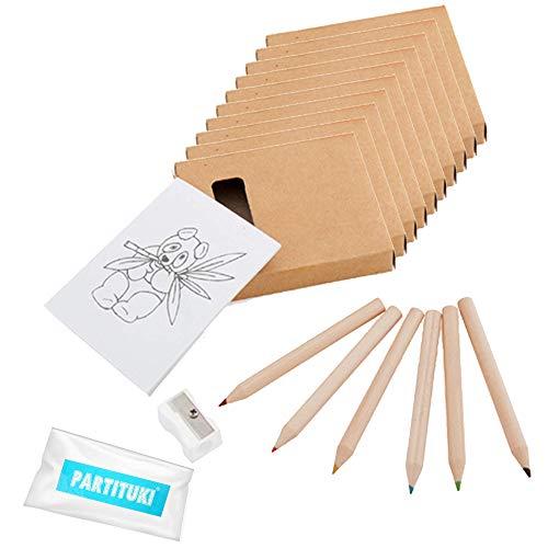 Partituki 10 Confezioni Coloranti. Ognuno con 6 matite colorate, 1 pad con disegni e 1 temperamatite. Ideale come regalo per una festa di compleanno