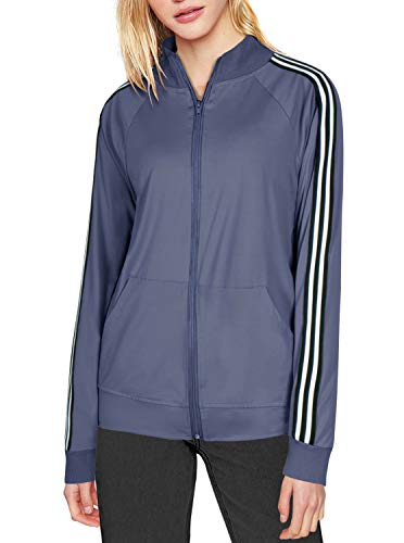 Women's Full-Zip Pocketed Collared Long Sleeved Running Track Jacket Thumb Holes Blue M