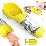 JEEZAO 300ml Botella de Agua para Perro, 3 en 1 Portatil dispensador de Agua Antibacteriano para Mascotas,con Pala de Caca y Bolsa de Basura para al Aire Libre Viaje (Amarillo)