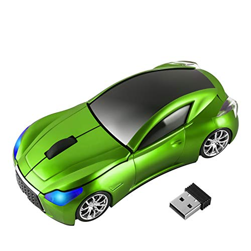 Car Mouse Wireless, 3C Light Cool 3D Sport Car Shaped Mouse Optical Mice 1600 DPI with USB Receiver Suitable for PC /Computer /Laptop (Green)