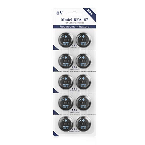 EBL 10 Pack RFA-67 6 Volt Pet Collar Replacement Batteries, Ultra Fit PIF-300 RF300 PIF-275-19 PRF-3004W PUL-250