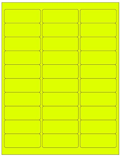 "Rollander 600 Blank Address Labels 2-5/8"" X 1"" Fluorescent Neon Color Mailing Labels Laser 20 Sheets (Fluorescent Neon Yellow)"