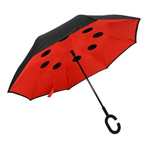 BUKUANG Windproof Double Couche Inverse Parapluie Poignée Creative Inverted Voyage Parapluie Avec C En Forme Soleil Ou Pluie Parapluies,#1