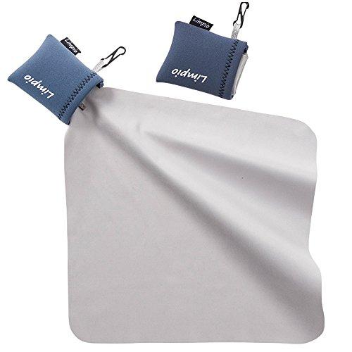 Limpio(リンピオ)クリーニングクロスレンズクリーナーメガネ拭き大判23cmx23cmスマホ・タブレット・液晶画面・レンズ・メガネ・カメラなどに日本正規品(ブルー、2個)