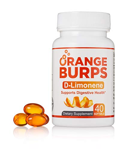 MIH Products | Orange Burps D-Limonene Softgels | All-Natural Orange Peel Extract Acid Reflux & Heartburn Dietary Supplement | Gluten-Free | 1 Bottle Containing 40 Soft Gel Capsules | 500MG Each