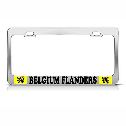 België Vlaanderen Vlag Chrome Heavy Duty License Plaat Frame Metalen Tag Border Perfect voor Mannen Vrouwen Auto garadge Decor