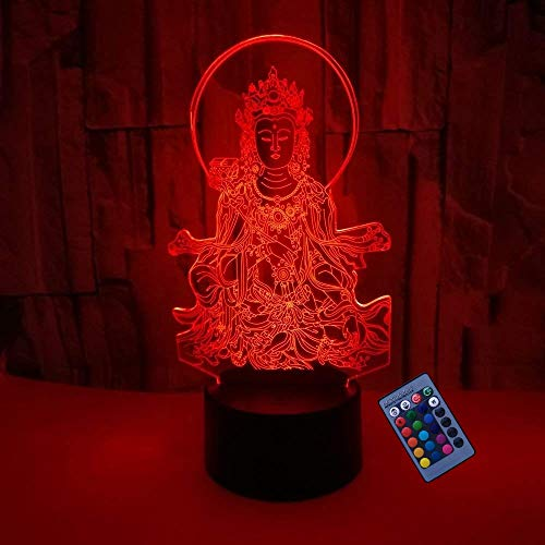 Optical Illusion 3D Buddha Night Light 16 Colors Changing USB Powered Touch Remote Control Switch Decor Lamp LED Table Desk Lamp Children Kids Christmas Xmas Brithday Gift
