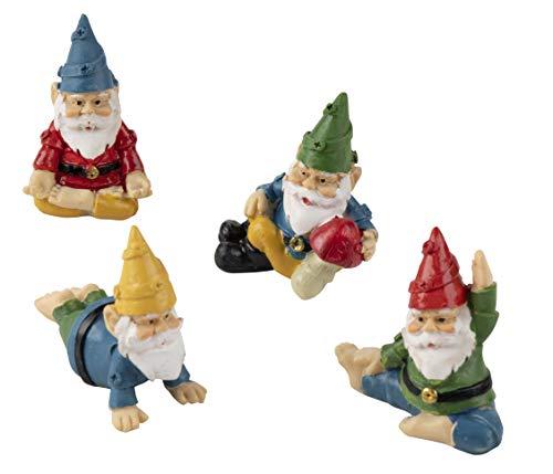 Set de Nains de Jardin Miniatures Zen et Yoga, Décorations de Jardin (4 pièces)