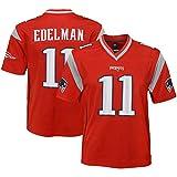 Maillots de Football américain New England Patriots Edelman 11#, Haut de Rugby à Manches Courtes pour Hommes, Maillot de Sport pour Adultes et Enfants T-Shirt-Red-L(180~185)