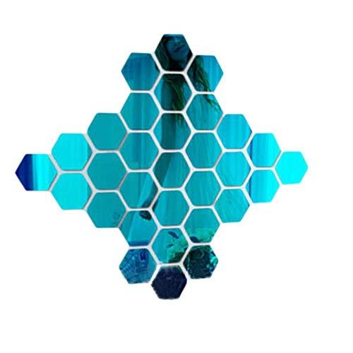 12 Stks Zeshoek Diamanten Spiegel Acryl Muursticker Creatieve DIY Spiegel Plakken Woonkamer Decoratieve Nieuwjaar Decoratie 126x110x63mm G131962a