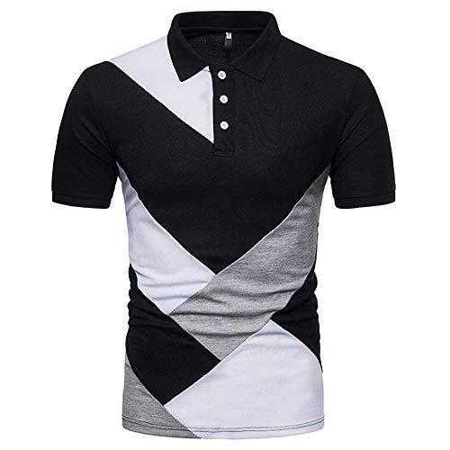 Herren Poloshirt Regular fit Kurzarm Klassisches Mode Hit Farbe gestreiftes Polo Kragen Shirt Freizeit Business Temperament Hemd atmungsaktiv Golf Poloshirt L