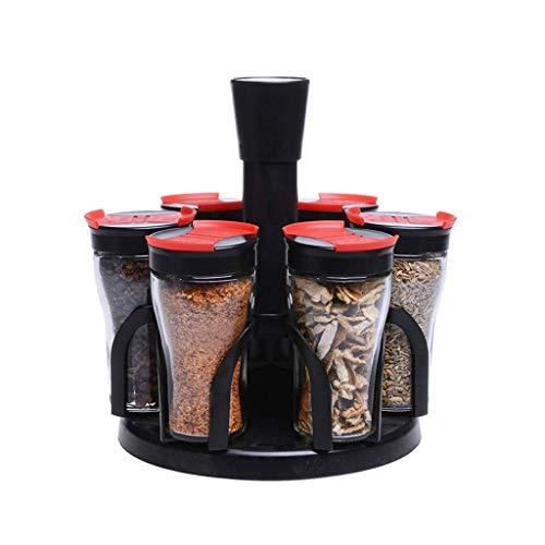 Manyao di alta qualità Rotazione bottiglia condimento Pot Set Creative Glass condimento Box Salt Pot condimento della cucina della casa di immagazzinaggio Supplies Combinazione