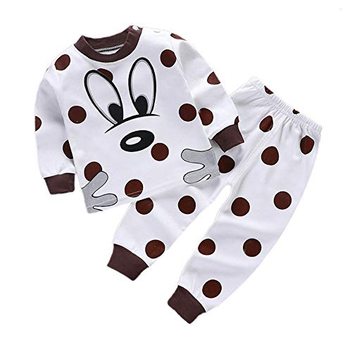 CVBN Conjunto de Pijamas para niños Pijamas para niños con patrón de Dibujos Animados de algodón Suave, Punto marrón, 120 cm