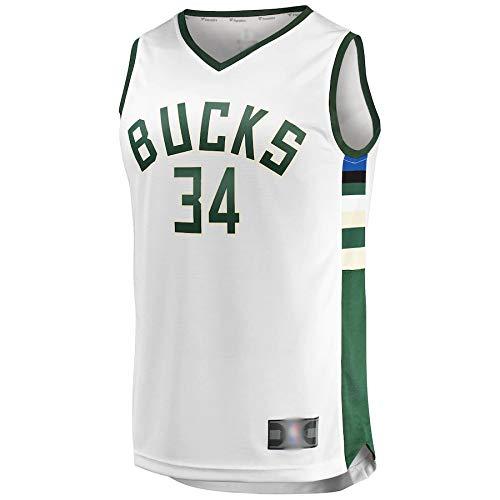 Chalecos de baloncesto para hombre Milwaukee Antetokounmpo NO.34 Giannis Bucks Réplica de Réplica de camiseta blanca de secado rápido sin mangas de uniforme edición de la asociación