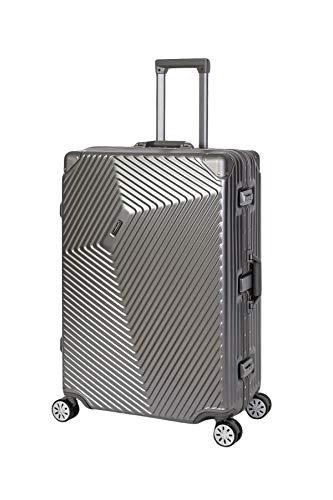 Travelhouse Roma Koffer grau L-77cm · Alu Rahmen · Polykarbonat Hartschale · Reisegepäck Reisetrolley Trolley · 2X TSA Zahlenschloss · 108L