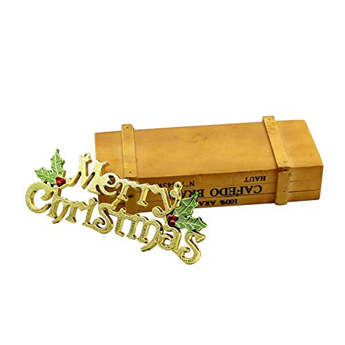 Merry Christmas Letter Hanging Sign, Gold Silver Christmas Tree Hanging Pendant Front Door Wreath Supplies