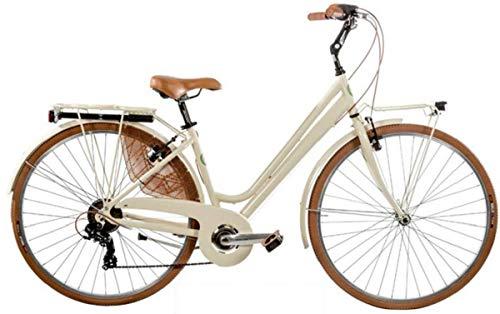 CICLI PUZONE Bici Alluminio Misura 28 Donna City Bike Trekking Vintage 6V Art. VINTAGE6VD (Panna)
