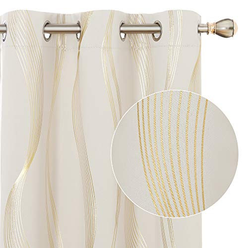 Deconovo Room Darkening Blackout Curtains Thermal Insulated Foil Golden Printed Wave Grommet Curtain for Living Room 42x84 Inch Light Beige 2 Panels