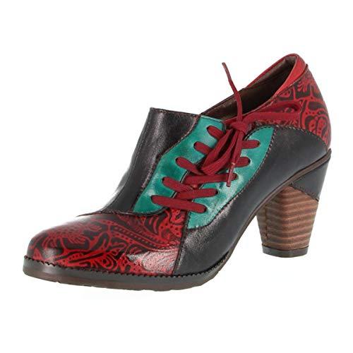 CrazycatZ Damen Leder Pumps Bunte Schuhe Stiefeletten mit Absätzen Blumen Handgefertigte Vintage Patchwork (41 EU, Dark RED)