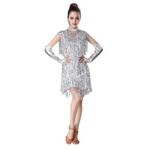 Gyratedream Latin Kleider Damen Wettbewerb Kostüme Pailletten Quaste Kleid Ballsaal Salsa Samba Rumba Karneval Tanzen Kleidung