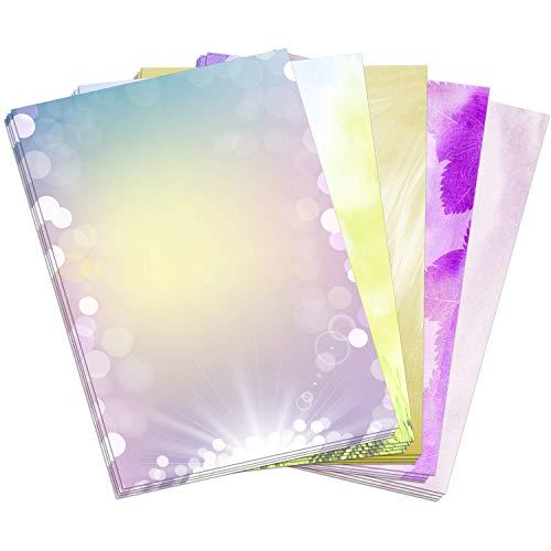 50 Blatt Briefpapier Motiv Mix Set (10 x 5 Motive) / beidseitig bedruckt/DIN A4 90 g Papier/Aquarell/Rosa/Sommer Wiese/Gelb/Modern