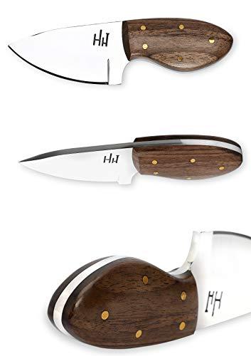 Hobby Hut HH-902 | Cuchillo de Cuello de Acero Inoxidable 420 de Hoja Fija de 5 Pulgadas | Cuchillo de Caza, Mango de Micarta | Funda de Piel | Diseñado para Piel y Camping
