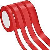 4 Rouleaux Ruban Satin Ruban d'Embellissement pour Décorations de Fête de Mariage, 4 Tailles (Rouge)