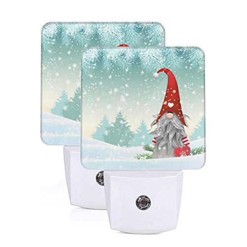 MSGUIDE Merry Christmas Tree Santa Snowflake Night Light 2 Pack, Plug-in LED Nightlights Auto Dusk-to-Dawn Sensor Lamp for Bedroom, Bathroom, Toilet, Stairs, Kitchen, Hallway, Kids, Adults
