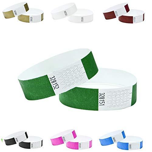 Tyvek Armbänder, 2 cm breit,in verschiedenen Farben, 100 Stück Packung, Dunkelgrün