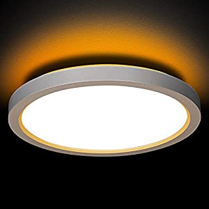 13 Inch LED Flush Mount Ceiling Light with Night Light, 24W, 2400lm, 3000K/4000K/5000K Selectable, Round Flat Panel Light, Dimmable Ceiling Light Fixture for Dining Room, Bedroom, Kitchen, Hallway