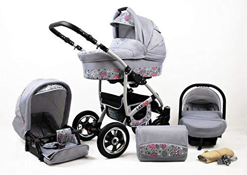 Cochecito de bebe 3 en 1 2 en 1 Trio Isofix silla de paseo New L-GO 2 by SaintBaby Pink Owl 2in1 sin Silla de coche