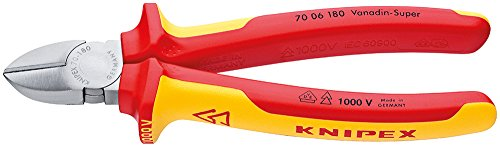 KNIPEX 70 06 180 SB Seitenschneider verchromt isoliert mit Mehrkomponenten-Hüllen, VDE-geprüft 180 mm (in SB-Verpackung)