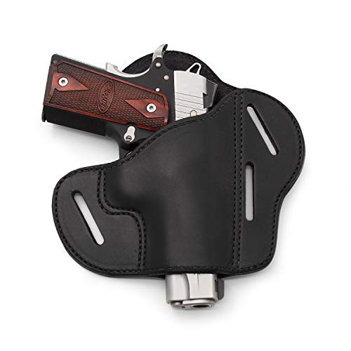 Relentless Tactical The Ultimate Leather Gun Holster   3 Slot Pancake Style Belt Holster   Handmade in The USA!   Fits All 1911 Style Handguns Black Right Handed