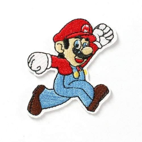 1pcs Super Mario Bros Fabric Embroidered Iron/sew on Patch for Kids Clothes