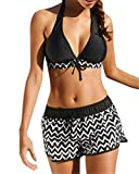 Yutdeng Conjuntos de Bikini Push up Trajes de Baño Cintura Alta Bikinis Dos Piezas Mujeres Sexy Ropa de Baño Clásico Playa Verano Natacion Negro Pantalones de Natación,Negro,XXL